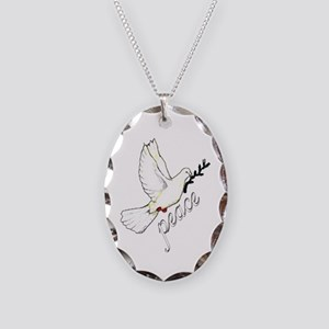 PEACE DOVE - OLIVE BRANCH Oval Charm Necklace